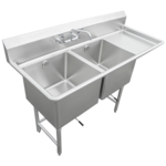 """IMC/Teddy SCS-26-1620-18R Commercial Sink, (2) Two Compartment, 16 Gauge Stainless Steel Construction with Stainless Steel Legs and With Right-hand Drainboard - 54"""" W"""