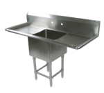 """John Boos 1PB1620-2D18 Commercial Sink, (1) One Compartment, 16 Gauge Stainless Steel Construction with Stainless Steel Legs and with 2 Drainboards - 55.25"""" W"""