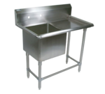 """John Boos 1PB24-1D30R Commercial Sink, (1) One Compartment, 16 Gauge Stainless Steel Construction with Stainless Steel Legs and With Right-hand Drainboard - 58.19"""" W"""