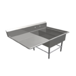 """John Boos 2PB14314-1D30L Commercial Sink, (2) Two Compartment, 16 Gauge Stainless Steel Construction with Stainless Steel Legs and With Left-hand Drainboard - 62.19"""" W"""