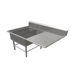 """John Boos 2PB14314-1D30R Commercial Sink, (2) Two Compartment, 16 Gauge Stainless Steel Construction with Stainless Steel Legs and With Right-hand Drainboard - 62.19"""" W"""
