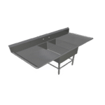"""John Boos 2PB14314-2D24 Commercial Sink, (2) Two Compartment, 16 Gauge Stainless Steel Construction with Stainless Steel Legs and with 2 Drainboards - 79.25"""" W"""