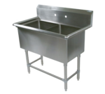 """John Boos 2PB16204 Commercial Sink, (2) Two Compartment, 16 Gauge Stainless Steel Construction with Stainless Steel Legs and without Drainboard - 37.13"""" W"""