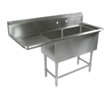 """John Boos 2PB204-1D18L Commercial Sink, (2) Two Compartment, 16 Gauge Stainless Steel Construction with Stainless Steel Legs and With Left-hand Drainboard - 62.19"""" W"""