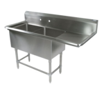 """John Boos 2PB204-1D18R Commercial Sink, (2) Two Compartment, 16 Gauge Stainless Steel Construction with Stainless Steel Legs and With Right-hand Drainboard - 62.19"""" W"""