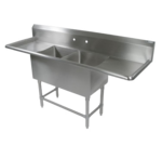 """John Boos 42PB204-2D24 Commercial Sink, (2) Two Compartment, 14 Gauge Stainless Steel Construction with Stainless Steel Legs and with 2 Drainboards - 91.25"""" W"""