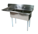 """John Boos E2S8-1620-12L18-X Commercial Sink, (2) Two Compartment, 18 Gauge Stainless Steel Construction with Galvanized Steel Legs and With Left-hand Drainboard - 52.5"""" W"""