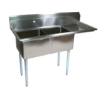 """John Boos E2S8-1620-12R18-X Commercial Sink, (2) Two Compartment, 18 Gauge Stainless Steel Construction with Galvanized Steel Legs and With Right-hand Drainboard - 52.5"""" W"""