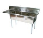 """John Boos E3S8-15-14L15 Commercial Sink, (3) Three Compartment, 18 Gauge Stainless Steel Construction with Galvanized Steel Legs and With Left-hand Drainboard - 62.5"""" W"""
