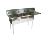"""John Boos E3S8-15-14R15 Commercial Sink, (3) Three Compartment, 18 Gauge Stainless Steel Construction with Galvanized Steel Legs and With Right-hand Drainboard - 62.5"""" W"""