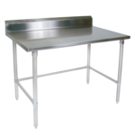 """John Boos ST4R5-2436SBK Work Table, 14 Gauge Stainless Steel Top with Open Base and 5"""" Backsplash - 36""""W x 24""""D"""