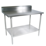 """John Boos ST4R5-3636SSK Work Table, 14 Gauge Stainless Steel Top with Stainless Steel Undershelf and 5"""" Backsplash - 36""""W x 36""""D"""