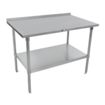 """John Boos ST6R1.5-2460SSK-X Work Table, 16 Gauge Stainless Steel Top with Stainless Steel Undershelf and 1 1/2"""" Backsplash - 60""""W x 24""""D"""