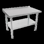 "John Boos UFBLG9624-X Work Table, 18 Gauge Stainless Steel Top with Galvanized Steel Undershelf and 1 1/2"" Backsplash - 96""W x 24""D"
