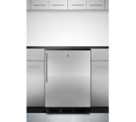 Summit Commercial FF7LBLKBISSHV 23.63'' 1 Section Undercounter Refrigerator with 1 Right Hinged Solid Door and Front Breathing Compressor