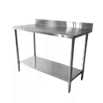 """Thunder Group SLWT42448F4 Work Table, 18 Gauge Stainless Steel Top with Galvanized Steel Undershelf and 4""""H Backsplash - 48""""W x 24""""D"""