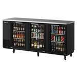 Turbo Air TBB-24-72SG-N Black 3 Glass Door Refrigerated Back Bar Storage Cabinet, 115 Volts