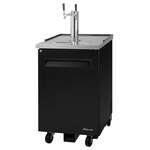 Turbo Air TBD-1SB-N6 2 Taps 1/2 Barrel Draft Beer Cooler - Black, 1 Keg Capacity, 115 Volts