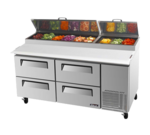 Turbo Air TPR-67SD-D4-N 67'' 4 Drawer Counter Height Refrigerated Pizza Prep Table