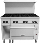 """Vulcan 48S-8B Restaurant Gas Range, 48"""" W with 8 (1) Standard Oven and Thermostatic Controls, - 275,000 BTU"""