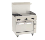 """Wolf C36C-2B24GT Restaurant Gas Range, with 2 Burners (1) 24"""" Griddle and Convection oven - 135,000 BTU"""